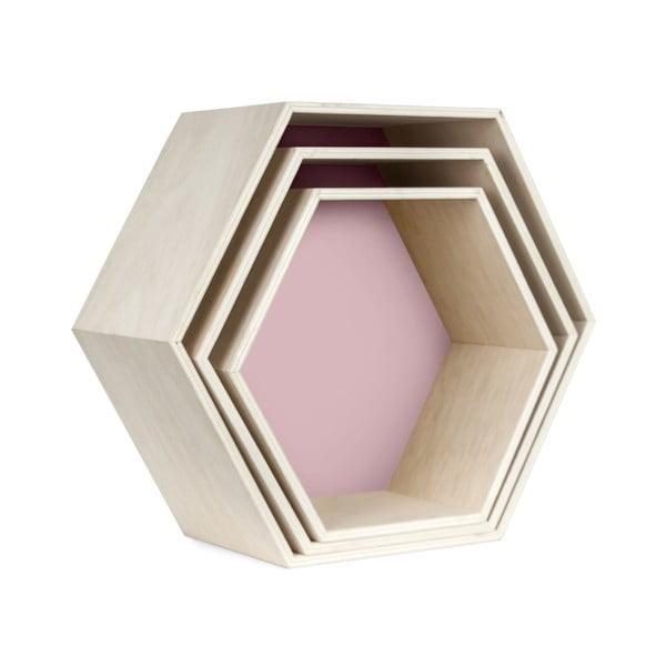 Sada 3 nástenných poličiek Hexagon, ružová