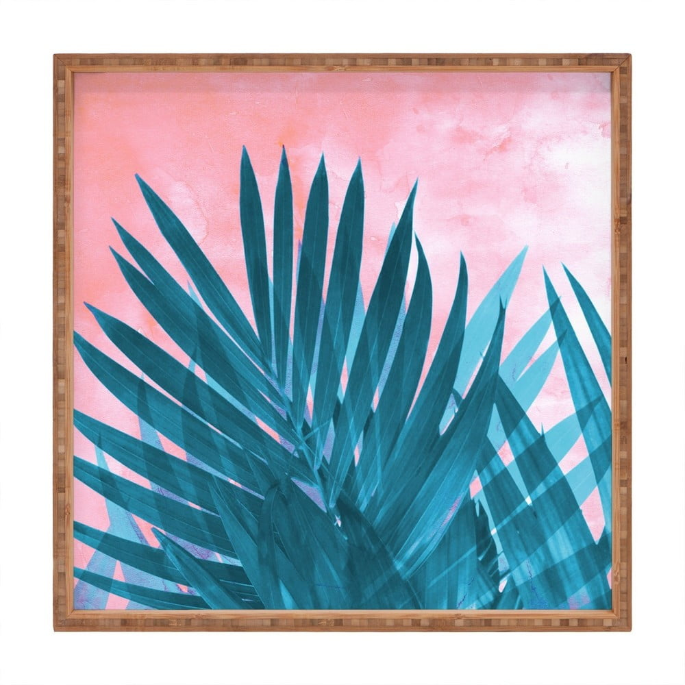 Drevený dekoratívny servírovací podnos Palma, 40 × 40 cm