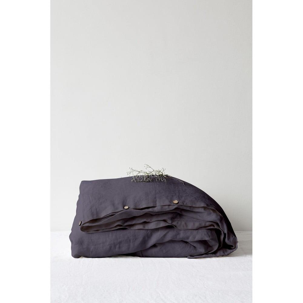 Tmavosivá ľanová obliečka na perinu Linen Tales, 200 x 200 cm