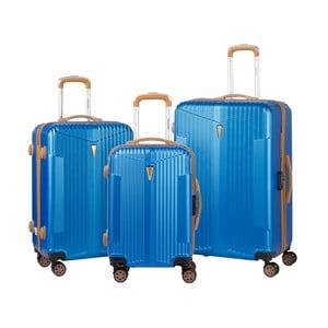 Sada 3 modrých kufrov na kolieskach Murano Europa