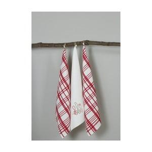 Sada 3 červeno-bielych kuchynských utierok My Home Plus Fork, 50×70 cm