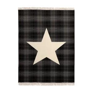 Koberec Fringe - čierna hviezda, 140x200 cm