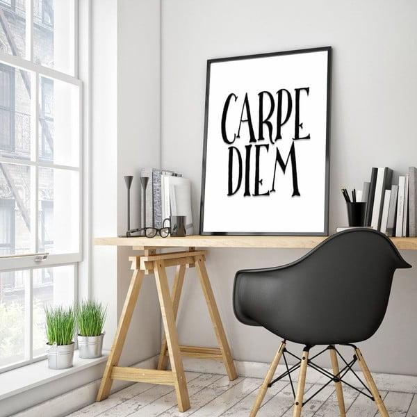 Plagát v drevenom ráme Carpe Diem, 38x28 cm