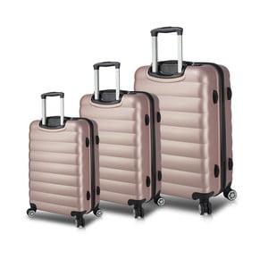 Sada 3 ružových cestovných kufrov na kolieskach s USB porty My Valice RESSO Travel Set