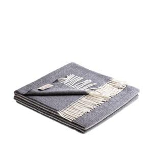 Sivá deka z jahňacej vlny a kašmíru Lanerossi Salice, 130 x 180 cm