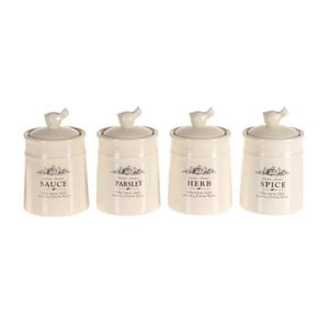 Sada 4 koreničiek Spice Jar Porcelain