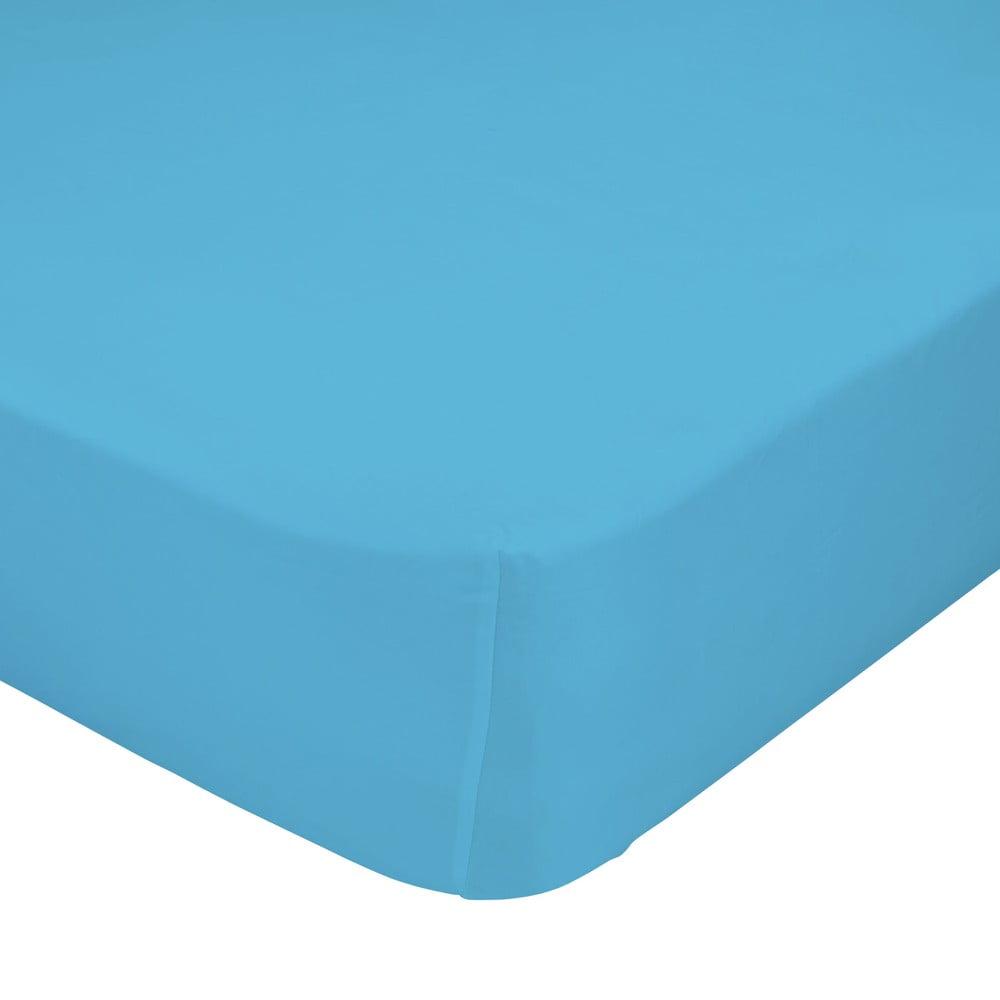 Tyrkysovomodrá elastická plachta z čistej bavlny Happy Friday Basic, 90 x 200 cm