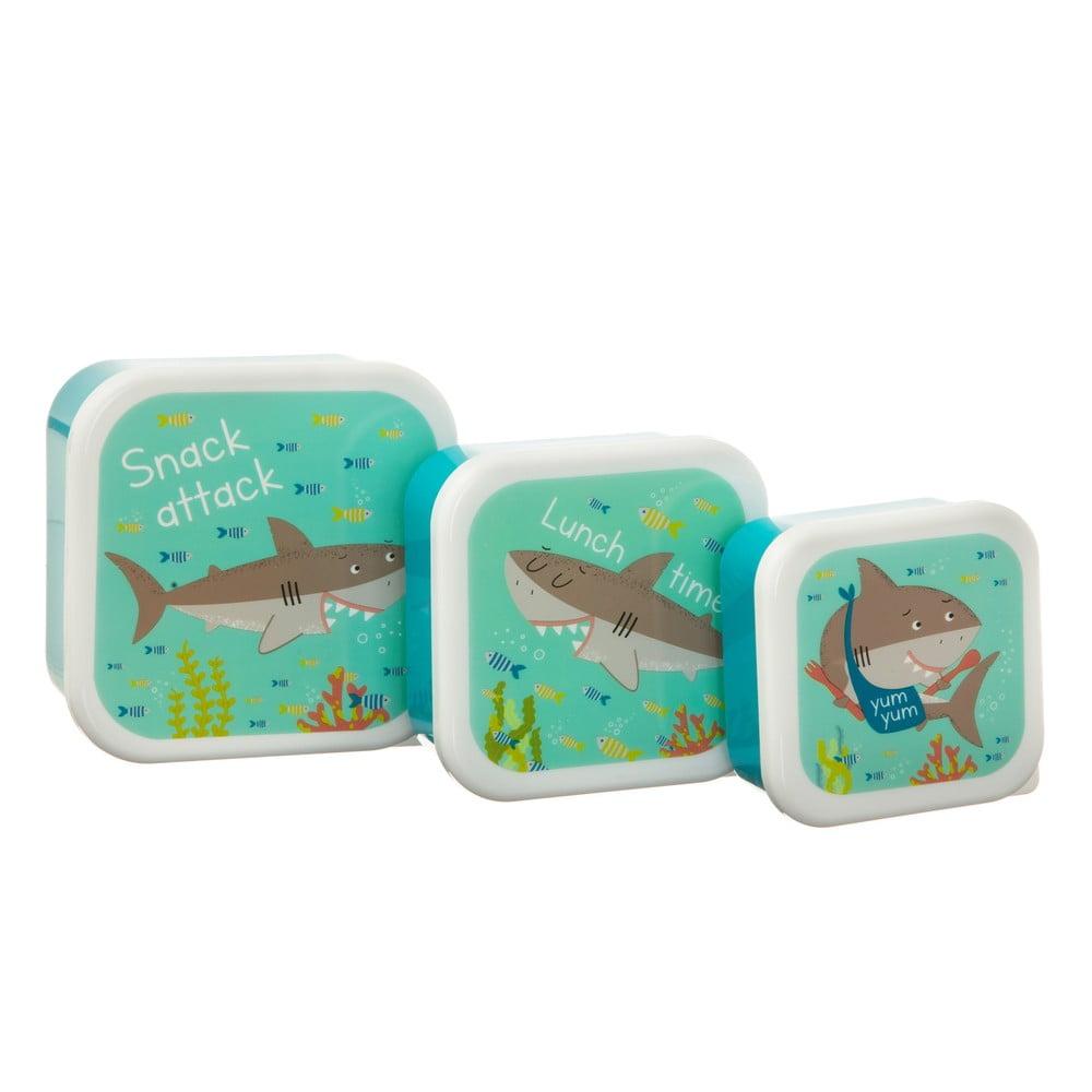 Sada 3 modrých obedových boxov Sass & Belle Shelby the Shark