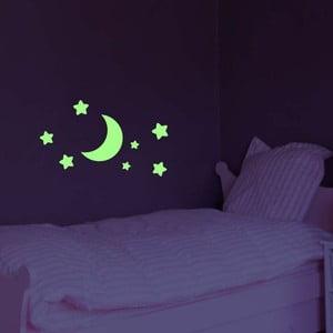 Samolepka svietiaca v tme Ambiance Moon and Stars, 25 x 25 cm
