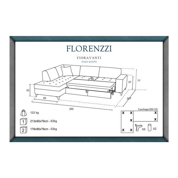 Svetlosivá rozkladacia pohovka Florenzzi Fioravanti s leňoškou na ľavej strane
