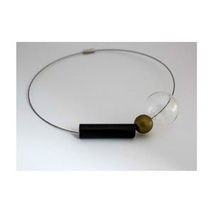 Sklenený obručový náhrdelník ko–ra–leGeomeTRIgold