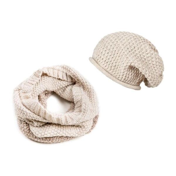 Krémová čiapka a šál Lavaii Snow