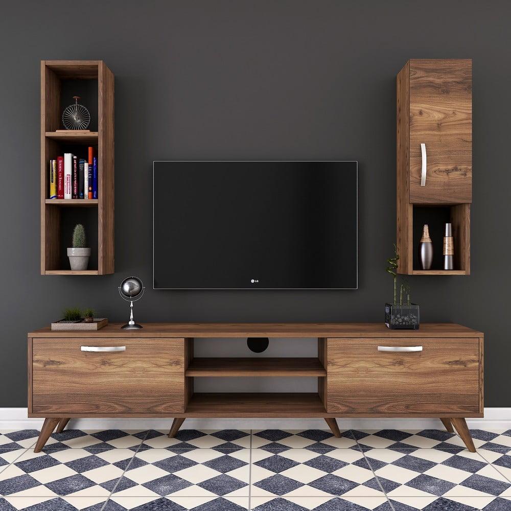 Set TV komody, nástennej skrinky a police v dekore orechového dreva Nut