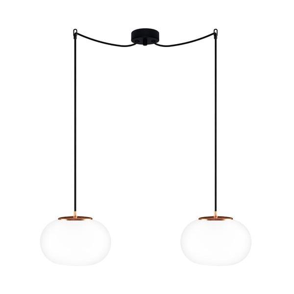 Čierne dvojité stropné svietidlo s detailmi v medenej farbe Sotto Luce dose