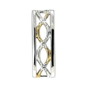 Strieborný prívesok s bielymi krištáľmi Swarovski Elements Crystals Gold Rectangle Lina