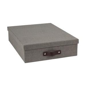 Tmavosivý úložný box na dokumenty s koženým úchytom Bigso Boxy, veľkost A4