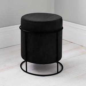 Čierny čalúnený puf Native Stack, ⌀37 cm