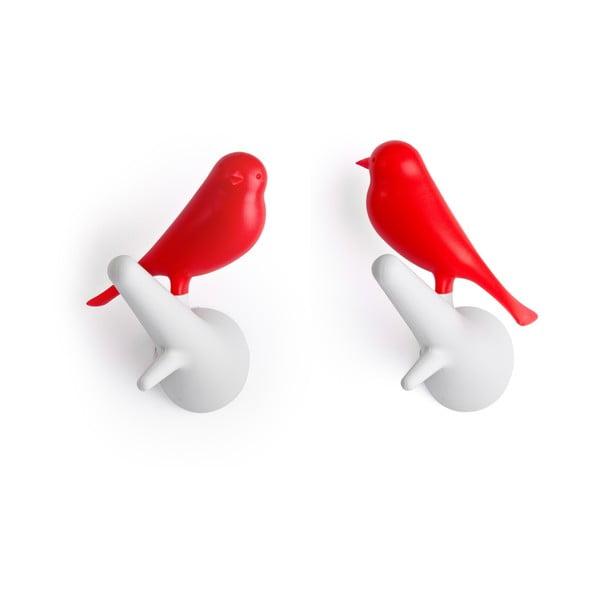 Sada dvoch kusov bielo-červených nástenných vešiakov Qualy Hook Sparrow