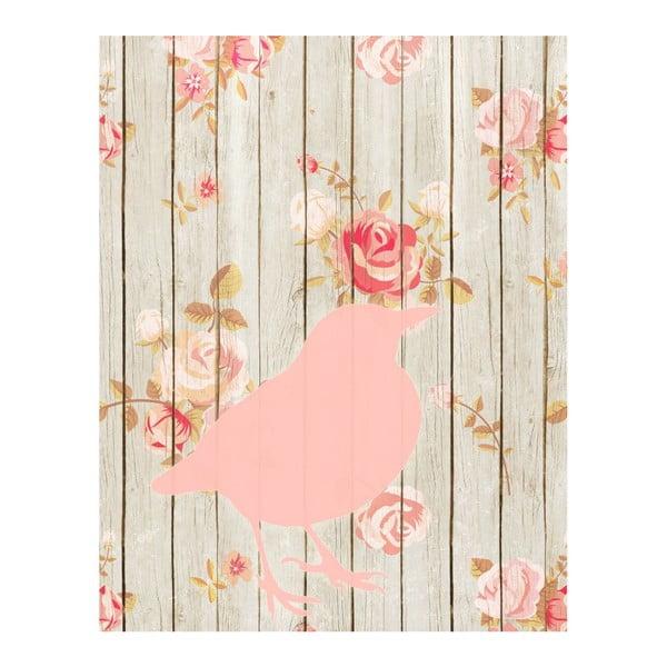 Plagát v drevenom ráme Flower bird, 38x28 cm