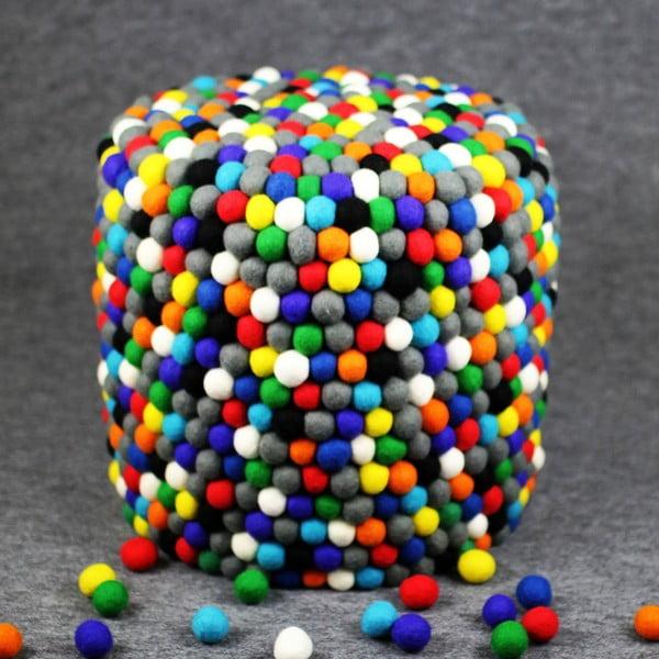 Ručne vyrobený guličkový puf Happy Pills, guľatý
