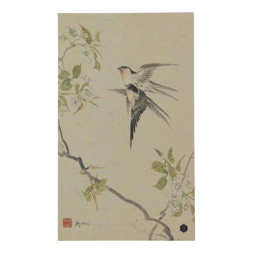 Plagát z ručne vyrábaného papiera BePureHome Swallows, 35 × 25 cm