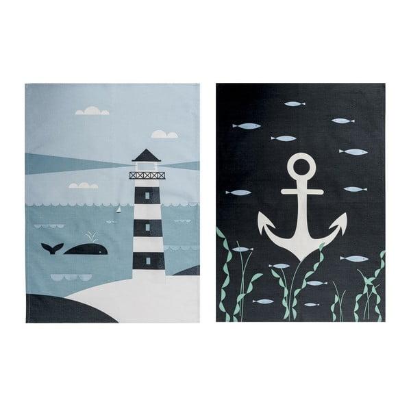Sada 2 kuchynských utierok Ahoy! Lighthouse