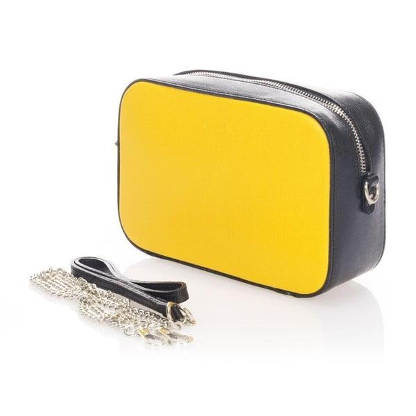 Kožené listová kabelka Krole Kath, žltá/čierna