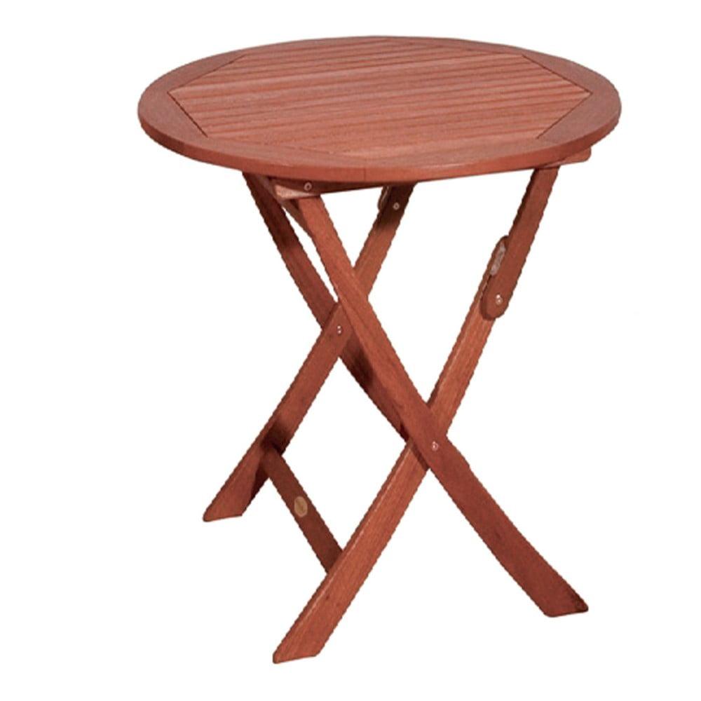 Záhradný skladací stôl z eukalyptového dreva ADDU Stockholm, Ø 70 cm