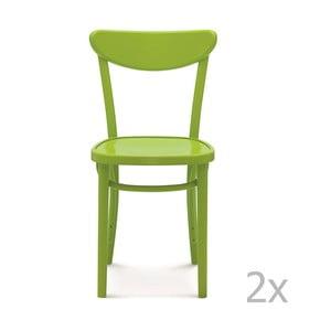 Sada 2 zelených drevených stoličiek Fameg Helle