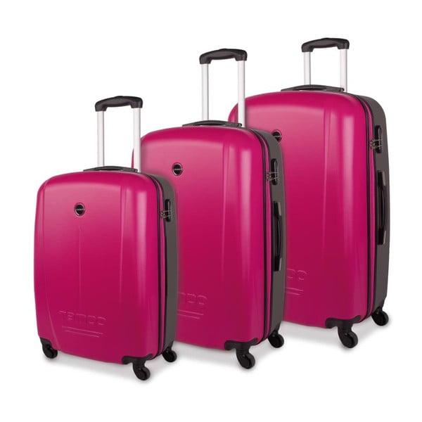 Sada troch sýto ružových cestovných kufrov Tempo