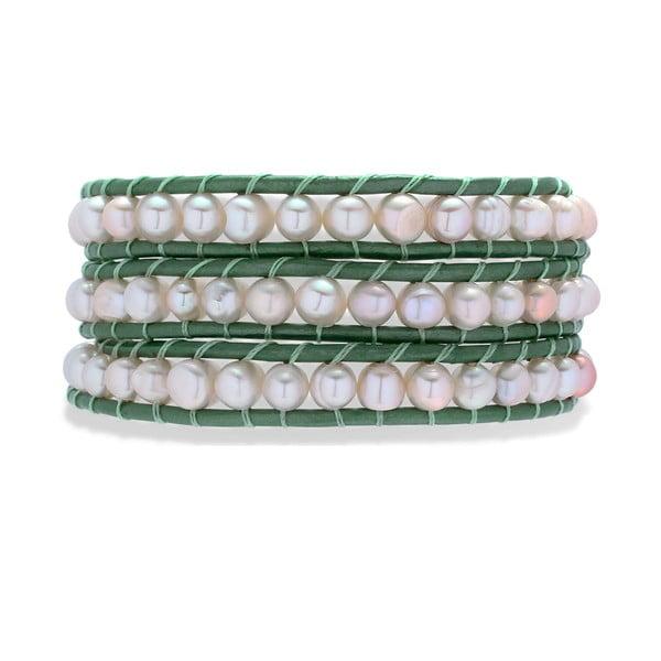 Tmavozeleno-biely kožený náramok s perlami Nova Pearls Copenhagen Néreus