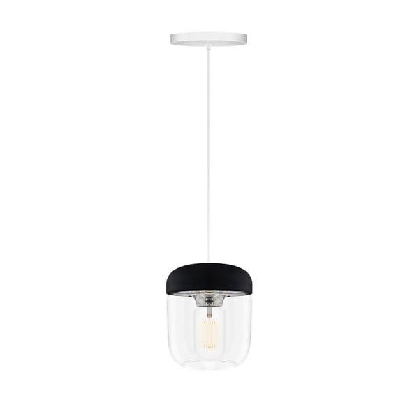 Čierne závesné svietidlo s objímkou striebornej farby VITA Copenhagen Acorn, Ø14 cm