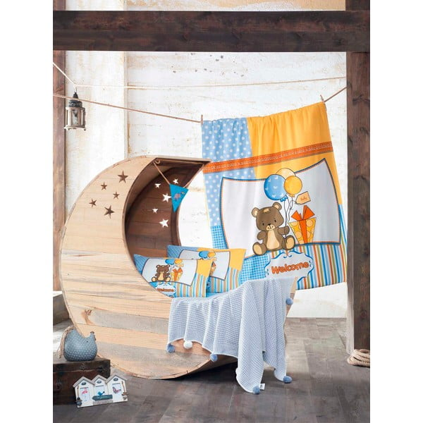 Set detských obliečok a plachty s pletenou dekou Sweet Bear, 100x150 cm