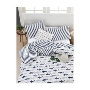 Obliečky s plachtou na dvojlôžko z ranforce bavlny Mijolnir Shark Dark Blue & White, 200 × 220 cm