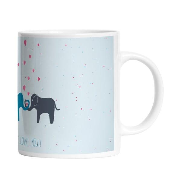 Keramický hrnček Elephant Love, 330 ml