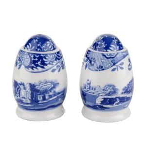 Sada bielo-modrej porcelánovej soľničky a koreničky Spode Blue Italian