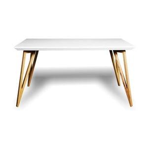 Jedálenský stôl z masívneho jaseňového dreva s bielou doskou Charlie Pommier Triangle, 180×80cm