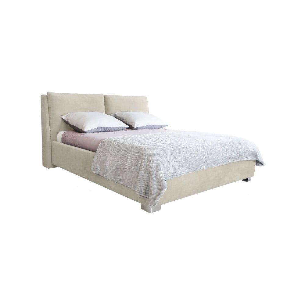 Béžová dvojlôžková posteľ Mazzini Beds Vicky, 160 × 200 cm