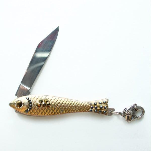 Český nožík rybička, zlatý s tmavými kryštálmi
