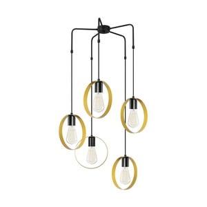 Čierne kovové závesné svietidlo v zlatej farbe Opviq lights Melinda