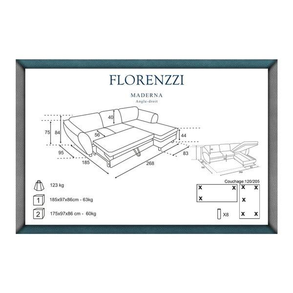 Sivo-tyrkysová rozkladacia pohovka Florenzzi Maderna s leňoškou na pravej strane