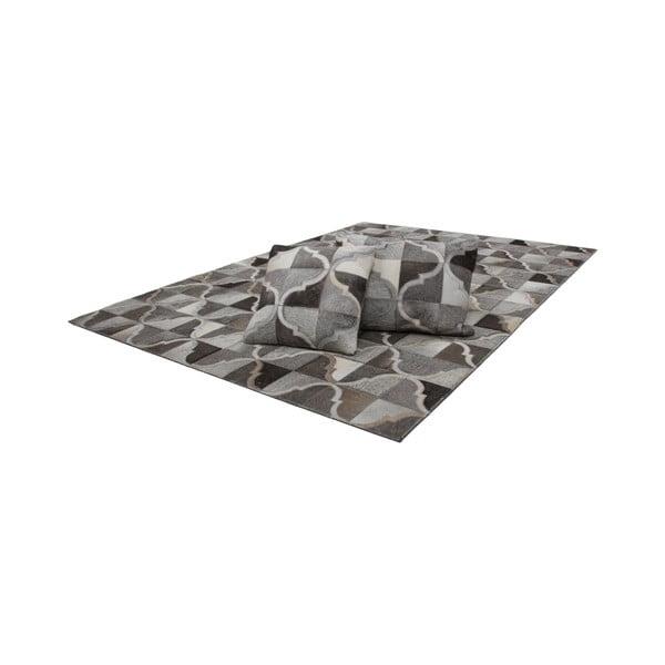 Kožený vankúš Eclipse Grey, 40x60 cm