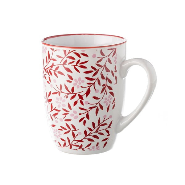 Červeno-biely hrnček Unimasa REDOS, 375 ml