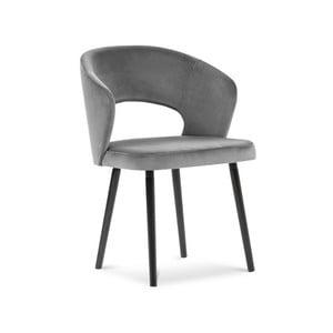 Sivá jedálenská stolička so zamatovým poťahom Windsor & Co Sofas Elpis