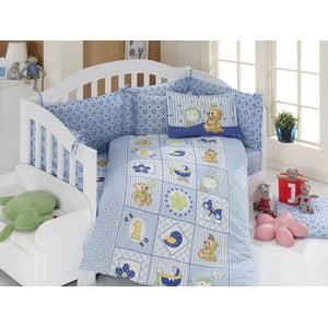 Set detských obliečok a plachty Blue Teddy, 100x150 cm