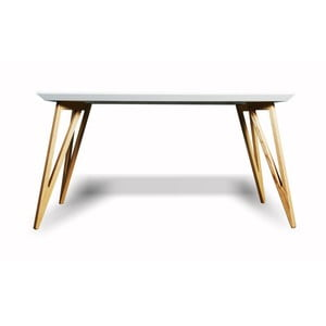 Jedálenský stôl z masívneho jaseňového dreva s bielou doskou Charlie Pommier Triangle, 140×80cm