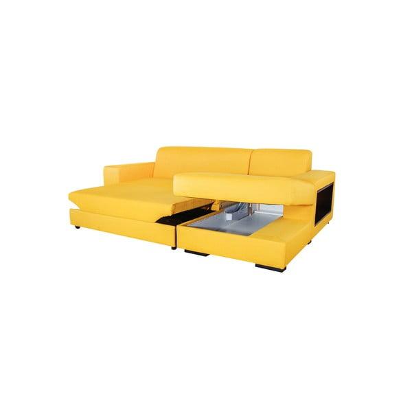 Rozkladacia pohovka A-Maze s úložným priestorom 245 cm, žltá, pravá strana