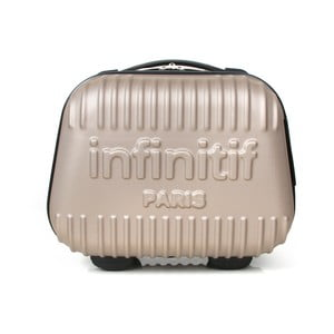 Svetloružový kozmetický kuforík s potlačou INFINITIF, 12l