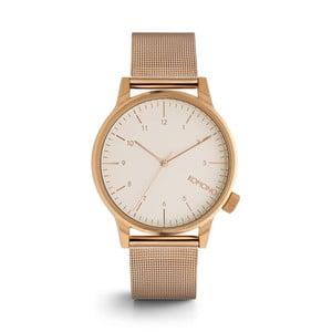 Pánske hodinky s kovovým remienkom vo farbe ružového zlata a bielym ciferníkom Komono Royale