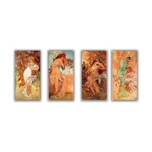Sada štyroch obrazov Alfons Mucha Four Seasons, 20x40 cm